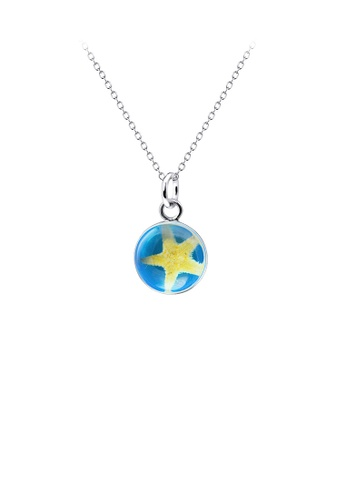 Glamorousky silver 925 Sterling Silver Simple Fashion Starfish Geometric Round Pendant with Necklace 0F22AAC5F197F8GS_1