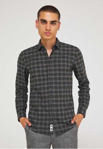 Sisley grey Checked Shirt 7D046AAEB01433GS_1