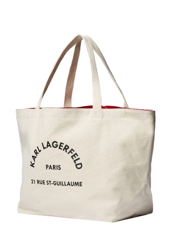 KARL LAGERFELD beige K/Rue St Guillaume Canvas Tote 87FC6AC65CC160GS_1