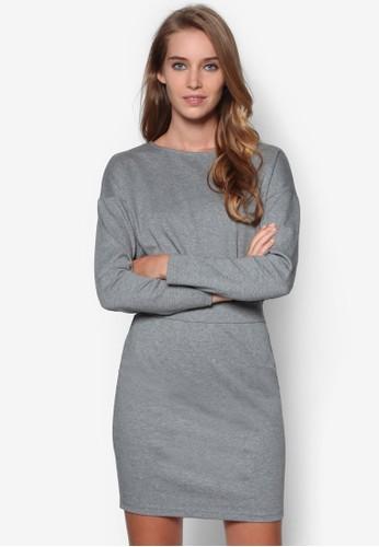 素esprit 工作色腰飾長袖連身裙, 服飾, 短洋裝