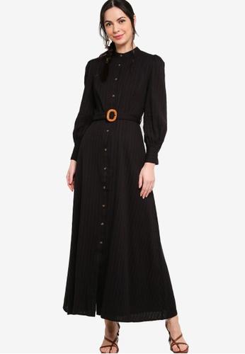 Zalia black Belted Puff Sleeves Shirt Dress 636CAAA58D3F0EGS_1