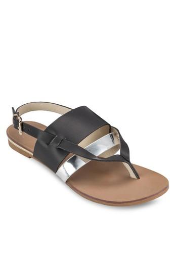 銀色esprit outlet 旺角帶價值繞踝平底涼鞋, 女鞋, 涼鞋