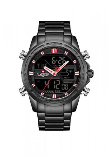 Naviforce black 9138 Water Resistant Quartz Dual Display Watch 96BCFAC02A6BE4GS_1
