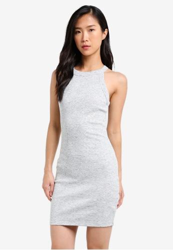 Supre grey Rib Cutaway Mini Dress SU225AA0RWXNMY_1