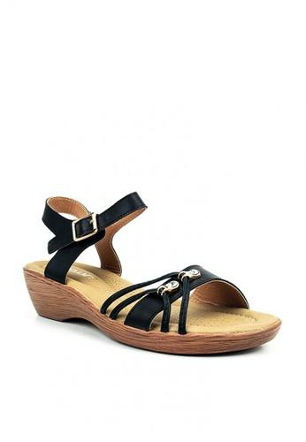 Cardam's Lifestyle black Martina Flat Sandals A27ECSH42E827EGS_1