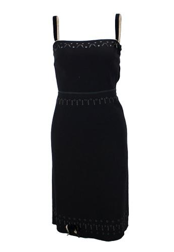 Prada black Pre-Loved Black Wool Prada Sleeveless Mini Dress with Cut Out and Embellishments Around Neckline, Waistline and Hemline. B0691AA3EB2528GS_1