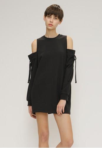 露肩寬松連衣裙,esprit服飾 韓系時尚, 洋裝