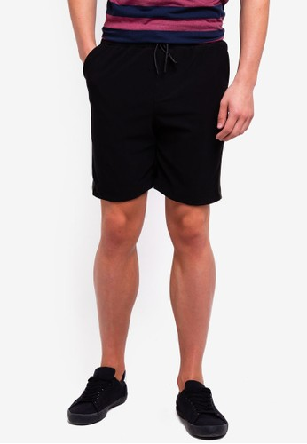 UniqTee black Pull On Shorts With Side Stripe B38D2AA8CAF962GS_1