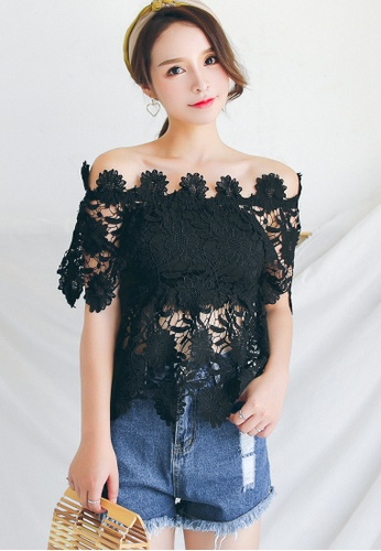 bee379e3cb03 Buy Shopsfashion Lace Off Shoulder Blouse in Black Online on ZALORA ...