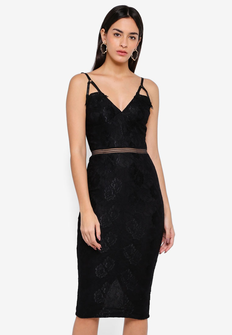 Paris Lace Eyelash Black AX Midi Dress U7dwqzxIS