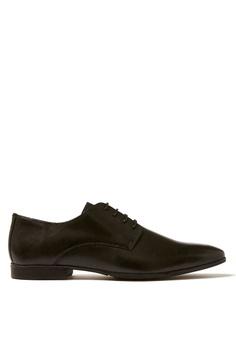 69b8f4f09ac Topman black Black Leather Fly Derby Shoes 7B5CDSH8B0C6C0GS 1