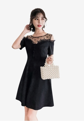 Lara black See-Through Ruffle Patchwork Off Shoulder Lace Aline Dress 328ACAA7214FBFGS_1