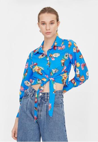 Pomelo blue Floral Print Tie Front Crop Top - Blue C12C1AA25FF2EDGS_1