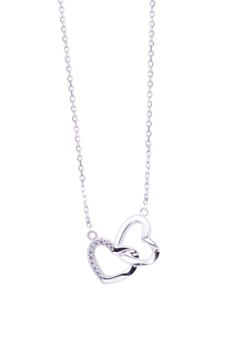 SHANTAL JEWELRY grey and white and silver Cubic Zirconia Silver Double Lock Heart Necklace SH814AC33PRASG_1