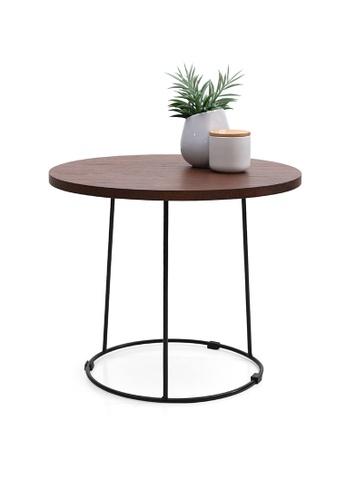 Joy Design Studio Barrel Walnut Top Round Side Table with PWC Black Metal Leg 7E052HL7E597F5GS_1