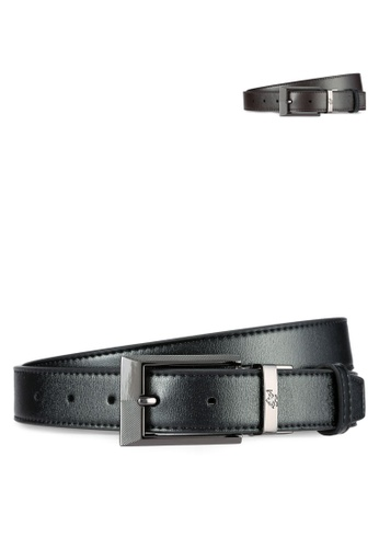 Swiss Polo black and brown 30mm Reversible Leather Belt SW912AC0RIGKMY_1
