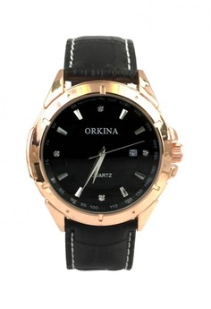 Orkina Men's Rose Gold Case Rhinestone Dial Leather Strap Fashion Wrist Watch