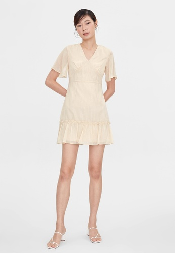 Pomelo beige Mini Frill Hem Dress - Cream E2A84AA3088EFEGS_1