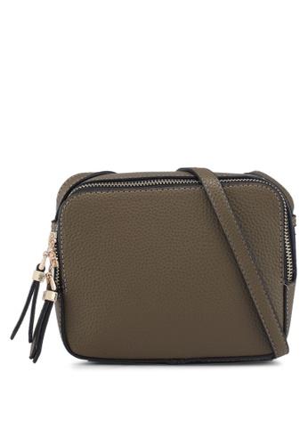 Buy Dorothy Perkins Khaki Double Zip Crossbody Bag Online on ZALORA ...