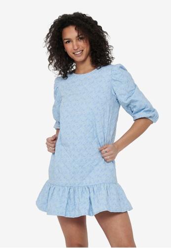 JACQUELINE DE YONG blue Scarlet 3/4 Short Quilt Dress CF4A3AA5181EDDGS_1
