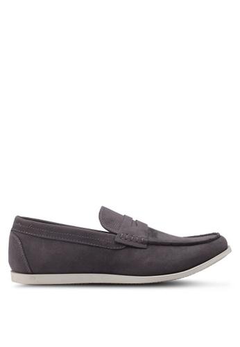 Burton Menswear London grey Grey Leather Look Saddle Loafers E68A5SH0895E93GS_1