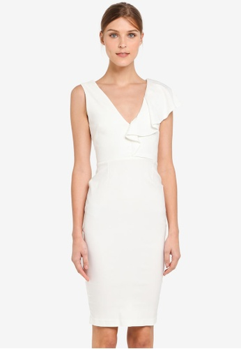 Vesper white Vesper Thalie Frill Detail Midi Dress VE733AA0SXA9MY_1