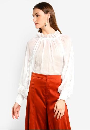 BYSI white Embroidered Ruff Collar Top 84073AA0C45B7CGS_1