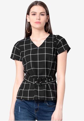 FabAlley black Grid Print Belted Top 33451AA7EDD64BGS_1