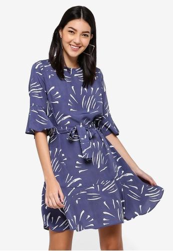 ZALORA blue and multi Ruffle Hem Dress 6EF2CAAA41AC7DGS_1