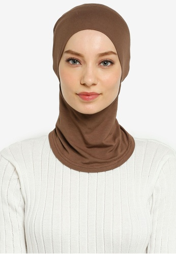 Hijabii brown Cady Inner Neck Tie in Coffee F350CAA6C64C64GS_1