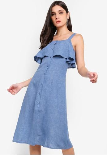 ZALORA blue Button Down Ruffles Dress 21DABAAA14C159GS_1