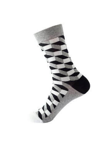 Kings Collection white Rhombus Pattern Cozy Socks (One Size) HS202384 493A2AA92581E1GS_1