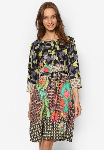 印花繫帶七分袖洋裝, 服esprit暢貨中心飾, 洋裝