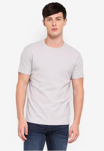 Burton Menswear London 灰色 Grey Waffle Slim Fit Textured T-Shirt AB283AAA650563GS_1