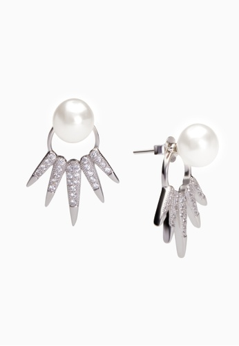 SHANTAL JEWELRY grey and silver Cubic Zirconia Silver Crown Earrings With Pearl SH814AC74BRHSG_1