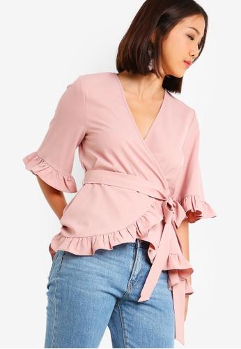 Something Borrowed 粉紅色 Self Tie Wrap Ruffles Top 1473EAA112821EGS_1