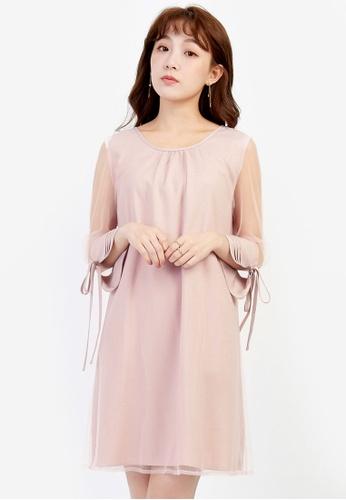 YOCO pink Shift Dress with Back Cut-out YO696AA0SSKHMY_1