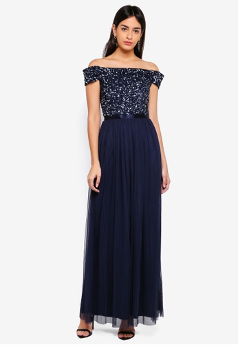 Lace & Beads navy Miho Maxi Dress 7F954AA6FAEFA9GS_1
