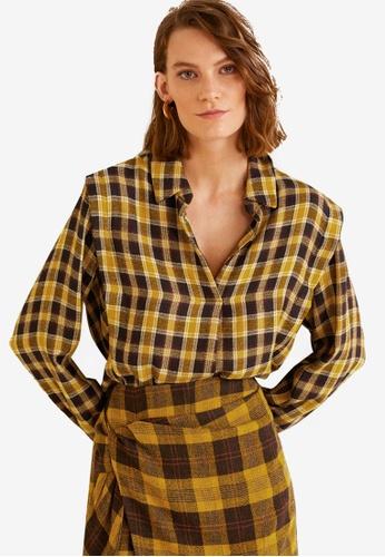 Mango yellow Check Shirt 1398CAAEA48F67GS_1