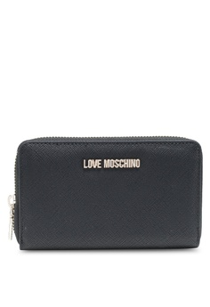 Love Moschino black Logo Zip Around Wallet 409D4AC4B33067GS_1