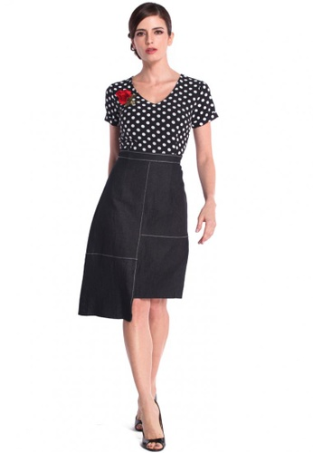 3b6bd4cae4e3 DreamTales Wardrobe black Polka Dot Asymmetrical Hem A Line Dress  CADEBAA39E611AGS 1