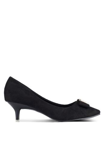 Spiffy black Low Block Heels With Ribbon 838ACSHF8BB9E4GS_1