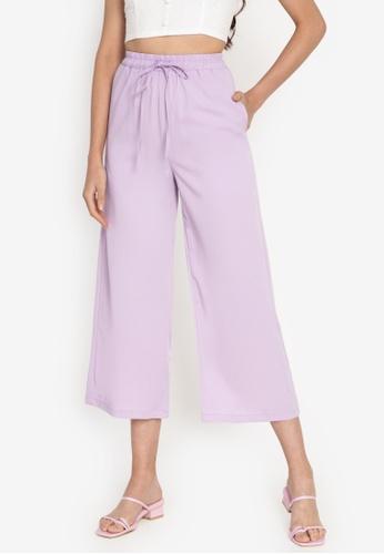ZALORA BASICS purple Drawstring Straight Pants CF765AA75DC487GS_1