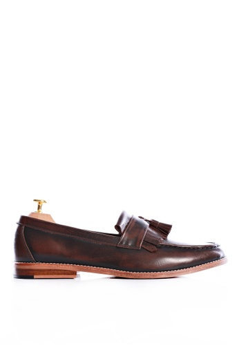 Zeve Shoes brown Zeve Shoes Fringe Loafer - Dark Brown Polished Leather 9B651SH1378F84GS_1