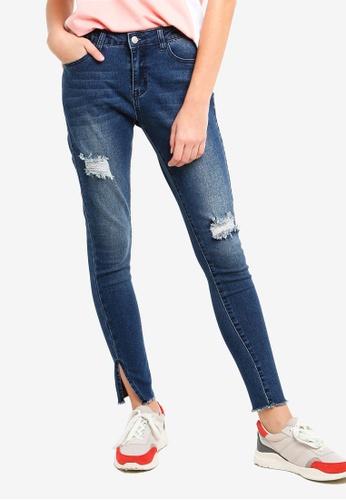 Something Borrowed blue Slit Hem Ripped Jeans 514EBAAF9D76BFGS_1