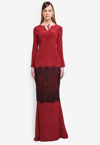 YADOTSA for ZALORA red Luna Huge Border Lace Kurung YA729AA0STGZMY_1