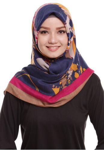 Mybamus Ethnic Square Hijab Viscose Navy - Brown
