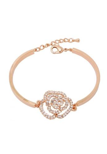 Jaysa Collection yellow Rose Gold Crystal Flower Bracelet JA875AC0GH6GSG_1