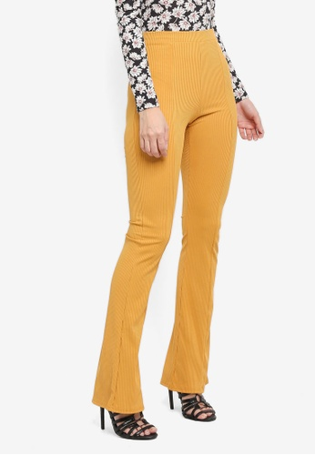 Miss Selfridge yellow Rib Kick Flare Trousers D9556AA64F9721GS_1
