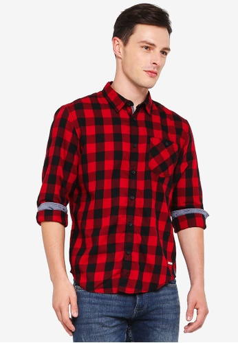 ESPRIT 紅色 格紋長袖襯衫 4F941AA8930B5AGS_1